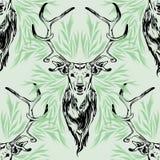 Movimiento del negro del retrato de los ciervos en diseño inconsútil verde del vector del modelo ilustración del vector