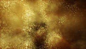 Movimiento del oro del fondo Polvo de oro del universo con las estrellas en fondo negro Extracto del movimiento de partículas VJ  ilustración del vector