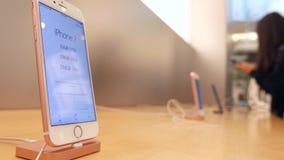 Movimiento del precio del iphone siete de la exhibición almacen de video