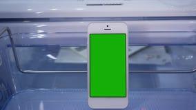 Movimiento del refrigerador de la exhibición y del teléfono de pantalla verde almacen de video
