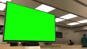 Movimiento del verde TV de la exhibición para su anuncio dentro de Apple Store