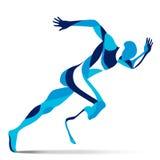 Movimiento estilizado de moda del ejemplo, hombre corriente de Paralympic, línea silueta del vector de Fotografía de archivo