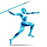 Movimiento estilizado de moda del ejemplo, jabalina-lanzando, línea silueta del vector - - de la acción Fotografía de archivo