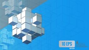 Movimiento geométrico isométrico del cubo en fondo azul Fotografía de archivo