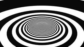 Movimiento hipnótico con los anillos blancos y negros almacen de video
