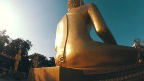 Movimiento liso de la cámara alrededor de la estatua del Buda de oro grande tailandia almacen de video