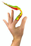 Pinte el movimiento hecho por el dedo pintado Foto de archivo libre de regalías