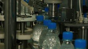 Movimiento plástico de las botellas a lo largo del transportador metrajes