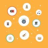 Movimiento plano del ritmo de los iconos, placa giratoria, radio y otros elementos del vector El sistema de Melody Flat Icons Sym Fotografía de archivo libre de regalías