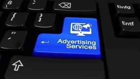 83 Movimiento redondo de los servicios de publicidad en el botón del teclado de ordenador stock de ilustración