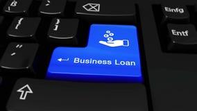Movimiento redondo del préstamo empresarial en el botón del teclado de ordenador metrajes