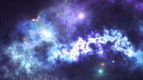 Movimiento a través del espacio, de estrellas, de galaxias y de nebulosas almacen de metraje de vídeo