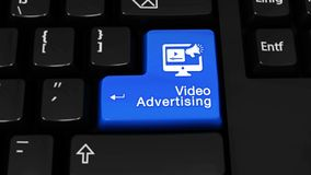 Movimiento video de la rotación de la publicidad en el botón del teclado de ordenador stock de ilustración