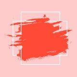 Movimientos abstractos de la pintura aislados en el fondo blanco con el marco geométrico Imagen de archivo libre de regalías