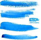 Movimientos azules brillantes del vector del cepillo de la acuarela Foto de archivo libre de regalías