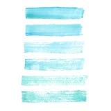 Movimientos azules pintados a mano del cepillo del grunge de la acuarela del vector Imagenes de archivo