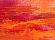Movimientos calientes texturizados coloridos del otoño del extracto del fondo del arte de la acuarela Imagen de archivo