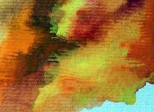 Movimientos calientes texturizados coloridos del otoño del extracto del fondo del arte de la acuarela Foto de archivo
