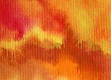 Movimientos calientes texturizados coloridos del otoño del extracto del fondo del arte de la acuarela Fotos de archivo