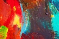 Movimientos coloreados de la pintura Fondo del arte abstracto Detalle de una obra de arte Arte contemporáneo Textura colorida pin Fotografía de archivo