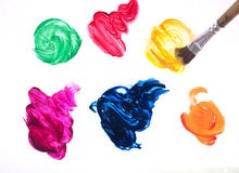 Movimientos coloridos del cepillo aislados fotografía de archivo
