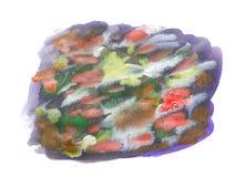 Movimientos coloridos del cepillo de la acuarela aislados en blanco Fotografía de archivo