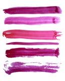 Movimientos coloridos del cepillo de la acuarela del vector Foto de archivo libre de regalías