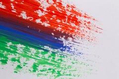 Movimientos coloridos del cepillo de la pintura acrílica Fotos de archivo