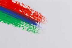 Movimientos coloridos del cepillo de la pintura acrílica Fotografía de archivo