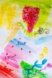 Movimientos coloridos del cepillo en un Libro Blanco, dibujo del watercolour Fotografía de archivo