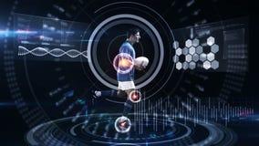 Movimientos futuristas de los atletas de seguimiento de la tecnología libre illustration