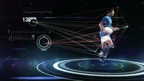 Movimientos futuristas de los atletas de seguimiento de la tecnología stock de ilustración