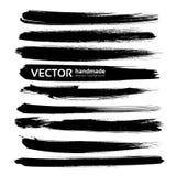 Movimientos largos negros grandes abstractos de la tinta fijados Foto de archivo