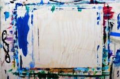 Movimientos multicolores del cepillo con aceite en lona Fondo Imagen de archivo