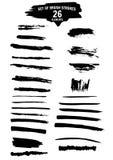 Movimientos negros del cepillo de la tinta Foto de archivo libre de regalías