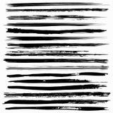 Movimientos negros del cepillo del vector de la tinta Fotografía de archivo