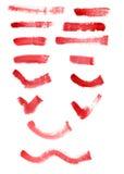 Movimientos rojos del cepillo Imágenes de archivo libres de regalías