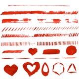 Movimientos rojos del cepillo Fondo del corazón de la acuarela Texturas abstractas del grunge para la tarjeta, cartel, invitación Imagen de archivo libre de regalías