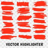 Movimientos rojos del marcador del highlighter ilustración del vector