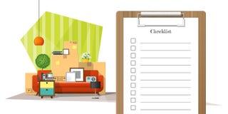 Moving домашняя концепция с доской сзажимом для бумаги обзора и кучей предпосылки мебели иллюстрация вектора