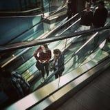 moving лестницы Художнический взгляд в винтажных ярких цветах Стоковые Изображения RF