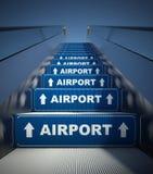 Moving лестницы эскалатора к авиапорту, принципиальной схеме Стоковые Фотографии RF