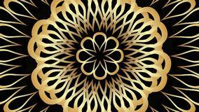 Moving золотой орнамент розетки с переходной эффект на черной предпосылке Элегантная видео- предпосылка иллюстрация штока