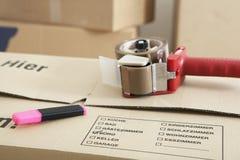 Moving коробка с лентой Стоковые Изображения