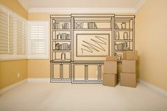 Moving коробки в пустой комнате с чертежом дизайна полки на стене Стоковая Фотография