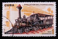 moving поезд и посвященное развитие железнодорожного транспорта, около 1975 Стоковое фото RF