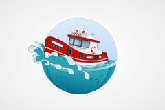 Moving спасательная лодка Глубокое море с волной Круглые значки компьютера вектора для применений или игр Шаблон логотипа и эмбле Стоковое фото RF