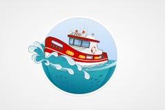 Moving спасательная лодка Глубокое море с волной Круглые значки компьютера вектора для применений или игр Шаблон логотипа и эмбле Стоковое Изображение RF