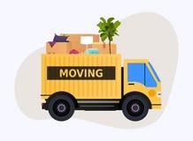 Moving тележка и картонные коробки двигать дома Переход compan бесплатная иллюстрация