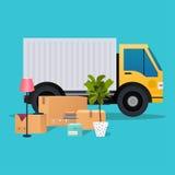 Moving тележка и картонные коробки двигать дома Переход compan иллюстрация штока